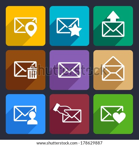 Mail  Flat Icons Set 48 - stock vector