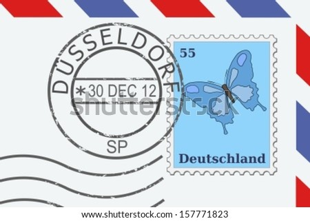 Mail from Germany - postage stamp and post mark from Dusseldorf. German letter. - stock vector