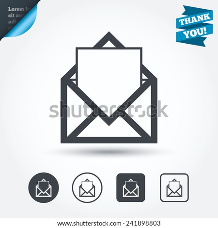 Mail icon. Envelope symbol. Message sign. Mail navigation button. Circle and square buttons. Flat design set. Thank you ribbon. Vector - stock vector