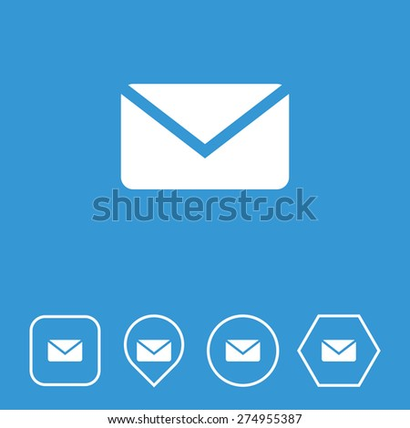 Mail Icon on Flat UI Colors with Different Shapes. Eps-10. - stock vector