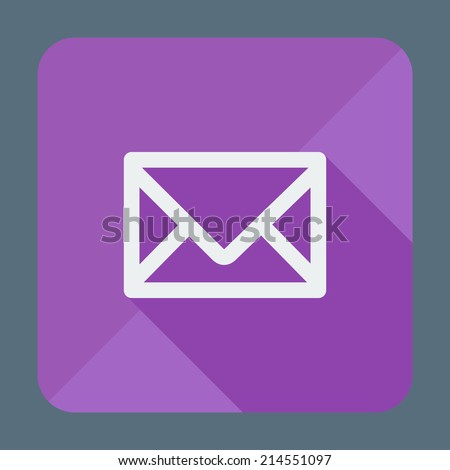 Mail icon, simple closed envelope. Flat design style modern vector illustration. Isolated on stylish color background. Square flat long shadow icon. Elements in flat design. - stock vector