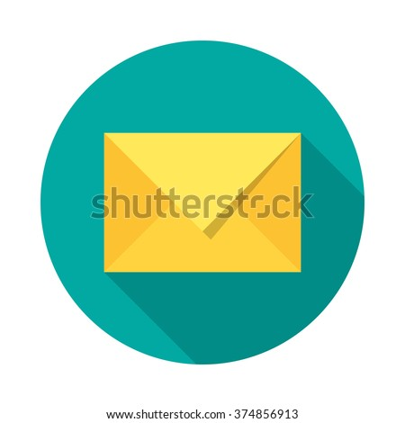 Mail icon with long shadow. Flat design style. Round icon. Modern flat icon in stylish colors. Web site page and mobile app design element. - stock vector
