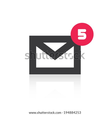 Mail Icon With Notification - stock vector