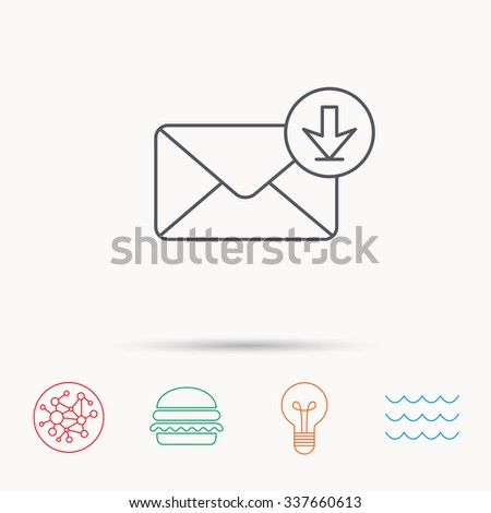 Mail inbox icon. Email message sign. Download arrow symbol. Global connect network, ocean wave and burger icons. Lightbulb lamp symbol. - stock vector