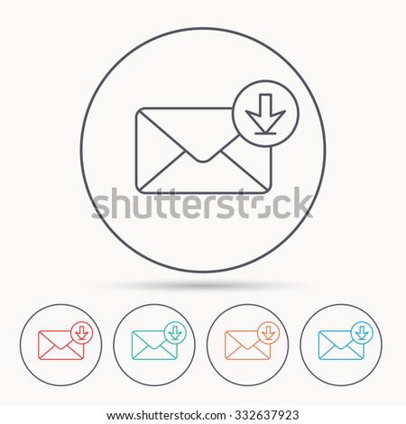 Mail inbox icon. Email message sign. Download arrow symbol. Linear circle icons. - stock vector