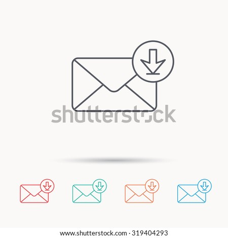 Mail inbox icon. Email message sign. Download arrow symbol. Linear icons on white background. Vector - stock vector