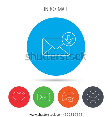 Mail inbox icon. Email message sign. Download arrow symbol. Mail, download and speech bubble buttons. Like symbol. Vector - stock vector
