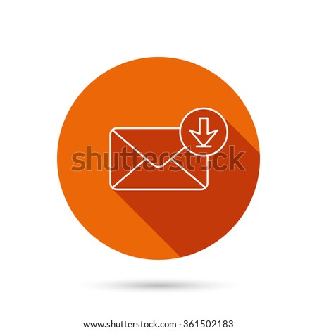 Mail inbox icon. Email message sign. Download arrow symbol. Round orange web button with shadow. - stock vector