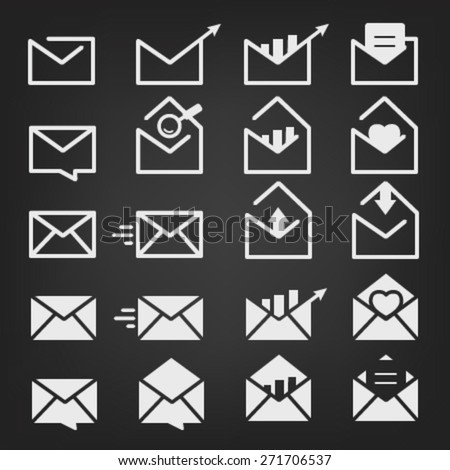Mail, Message and Envelope Icon Set on Black Background - stock vector