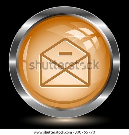 mail minus. Internet button. Vector illustration. - stock vector