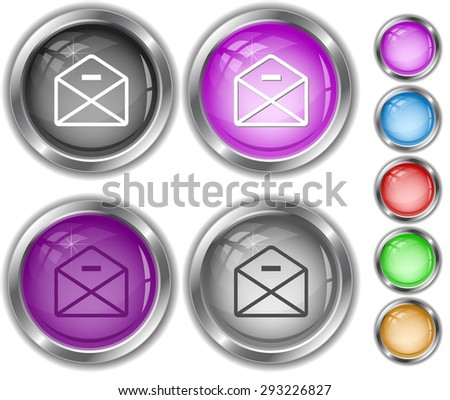 mail minus. Internet buttons. - stock vector