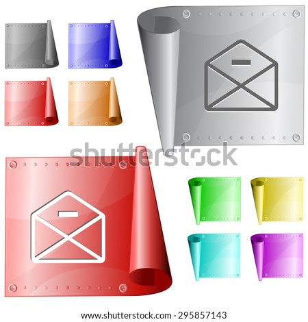 mail minus. Vector metal surface. - stock vector
