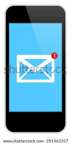 Mail Notification On Modern Black Smartphone In iPhone Style Isolated On White - stock vector
