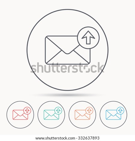 Mail outbox icon. Email message sign. Upload arrow symbol. Linear circle icons. - stock vector