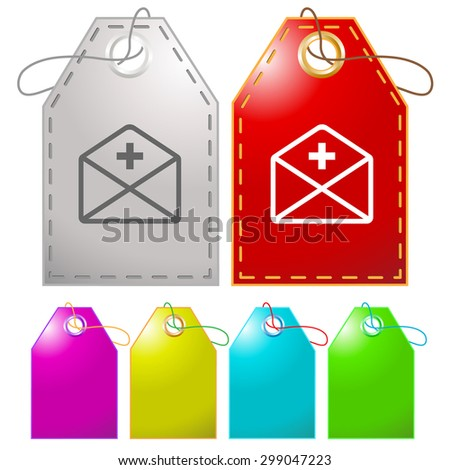 mail plus. Vector tags. - stock vector