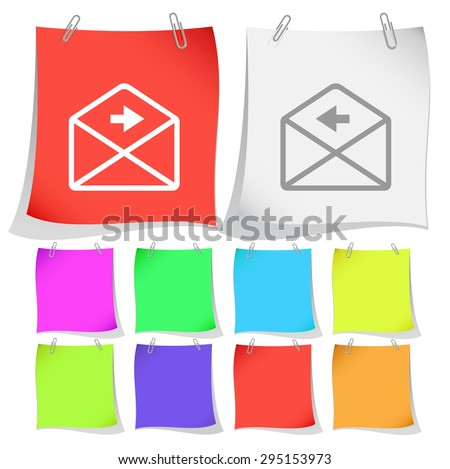 mail right arrow. Vector note papers. - stock vector