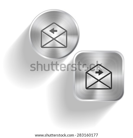 mail right arrow. Vector set steel buttons - stock vector