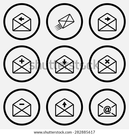 Mail set. Black and white set vector icons. - stock vector