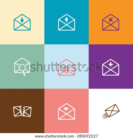 Mail set. Flat color vector icons. - stock vector
