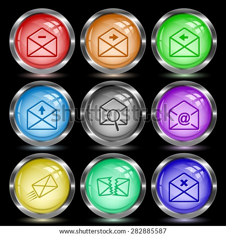 Mail set. Internet button. Vector illustration. - stock vector