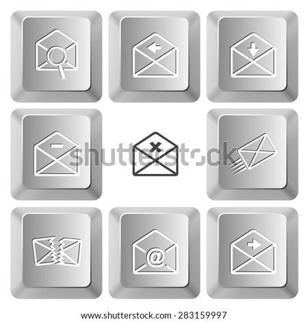 Mail set. Vector set computer keys. - stock vector
