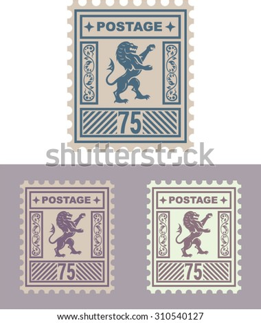Mail Stamp with Vintage Royal Lion - stock vector