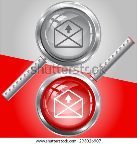 mail up arrow. Vector magnifying glass. - stock vector