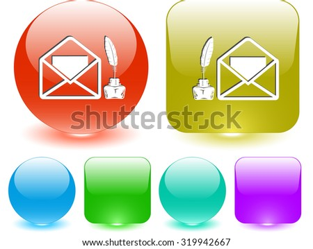 mail with feather and inkstandn . Vector interface element. - stock vector