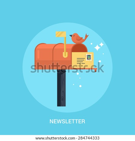 Mailbox flat modern icon. Concept of newsletter promotion and digital marketing - stock vector