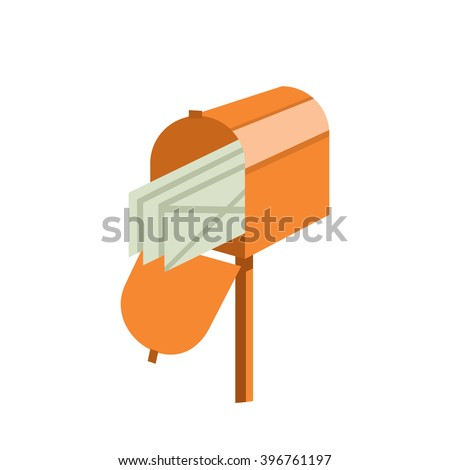 Mailbox icon. Mailbox isolated background. Concept mail, receive e-mail, send letter, mail delivery. Mailbox vector illustration. - stock vector