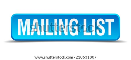 mailing list blue 3d realistic square isolated button - stock vector