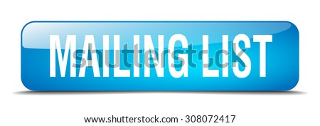 mailing list blue square 3d realistic isolated web button - stock vector
