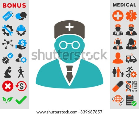 Main Physician vector icon with bonus. Style is bicolor flat symbol, grey and cyan colors, rounded angles, white background. - stock vector