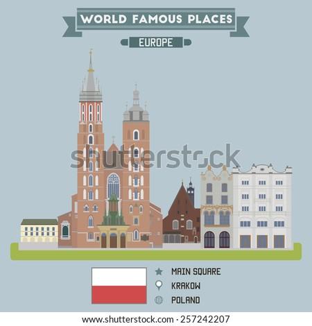 Main Square. Krakow, Poland - stock vector