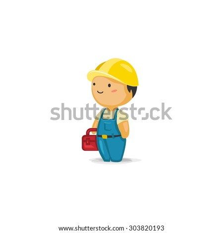 Maintenance Worker with a Toolbox - stock vector