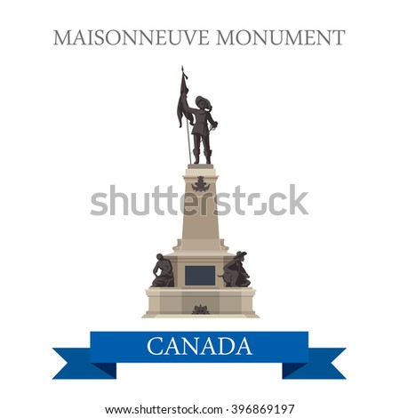 Maisonneuve Monument in Montreal Canada. Flat cartoon style historic sight showplace attraction web site vector illustration. World countries city vacation travel sightseeing North America collection - stock vector