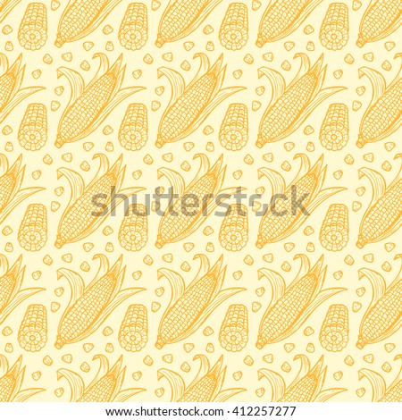 Maize Seamless pattern. Vector Vegetable background. Hand drawn doodle Corn cobs and corn grains  - stock vector