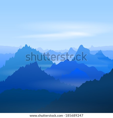 Majestic Blue Mountains - stock vector