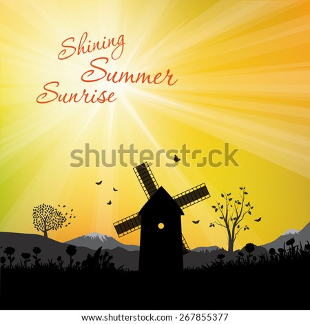 Majestic evening in the mountains landscape. Sunrise in country. Vector illustration - stock vector