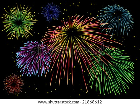 Majestic firework on black sky. All elements are separate objects and grouped.No transparency. - stock vector