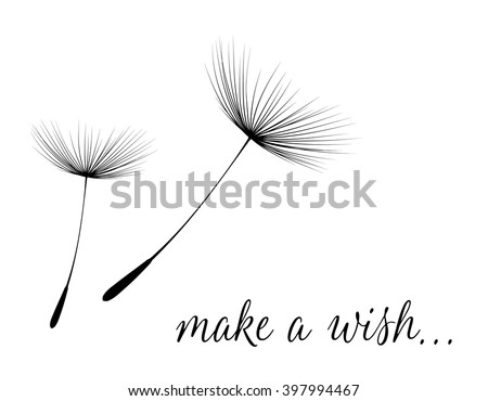 Make a wish card with dandelion fluff. Vector illustration - stock vector