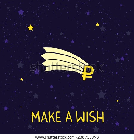 Make a wish russian ruble falling down vector illustration - stock vector