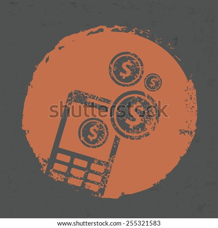 Make money on mobile design on grunge background, grunge vector - stock vector
