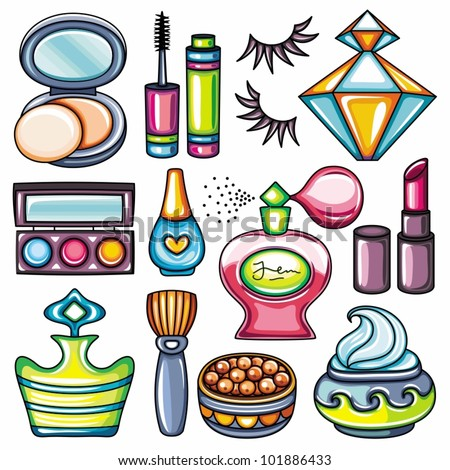 Make-up icon set part 1: face balls powder with brush, compact powder with puff and mirror, lipstick, nail polish, mascara, eye shadows and foundation, nail polish, perfume, cream, falce eyelashes - stock vector