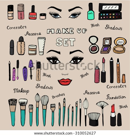 Make up kit. Doodle makeup set. Collection of brushes, nail polishes, lipsticks and etc. from make up artist kit. Hand drawn make up set. EPS10 vector illustration. - stock vector