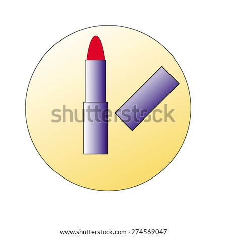Make-up set for lips. Lipstick and lip gloss smudges. - stock vector