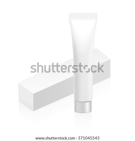 Make up. Tube of cream or gel white plastic product. Container and packaging. White background. - stock vector