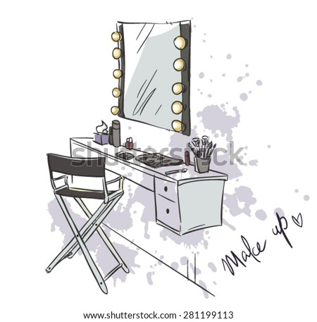 Make up. Vanity table and folding chair illustration.  - stock vector