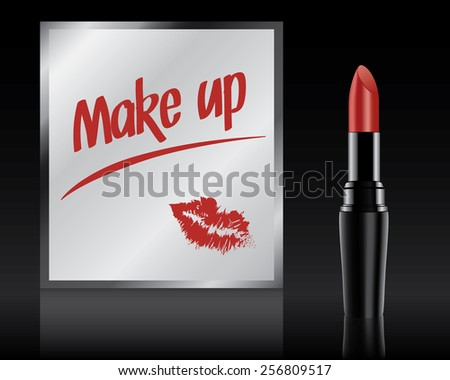 Make up written on mirror by lipstick, vector illustration - stock vector