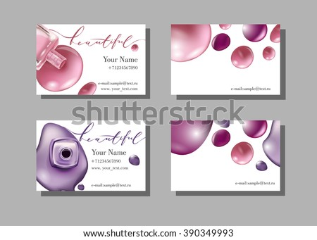 Makeup artist business card. Vector template with makeup items pattern - nail Polish. Fashion and beauty background. Template Vector. - stock vector